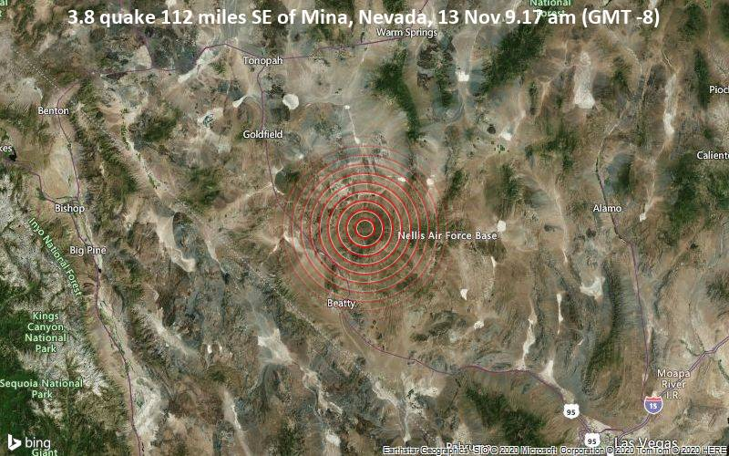 3.8 quake 112 miles SE of Mina, Nevada, 13 Nov 9.17 am (GMT -8)