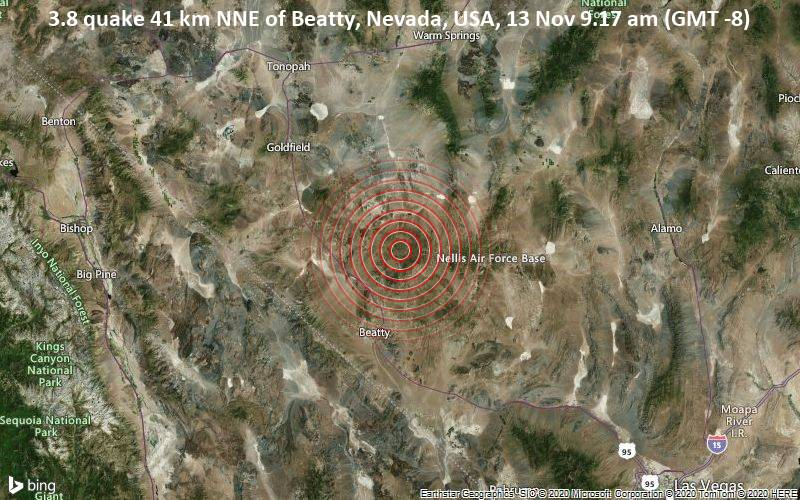 3.8 quake 41 km NNE of Beatty, Nevada, USA, 13 Nov 9.17 am (GMT -8)