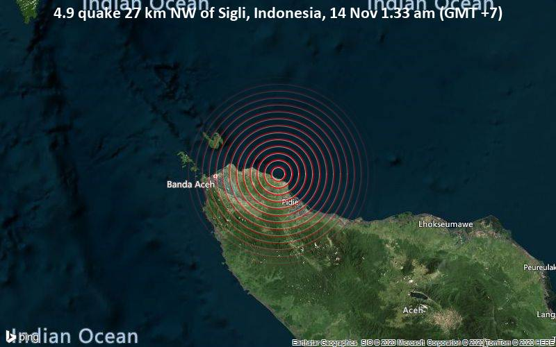4.9 quake 27 km NW of Sigli, Indonesia, 14 Nov 1.33 am (GMT +7)