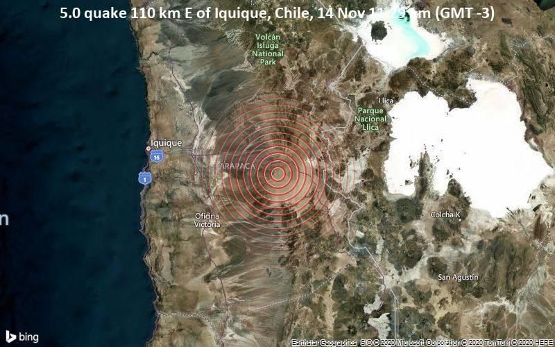 5.0 quake 110 km E of Iquique, Chile, 14 Nov 11.29 am (GMT -3)
