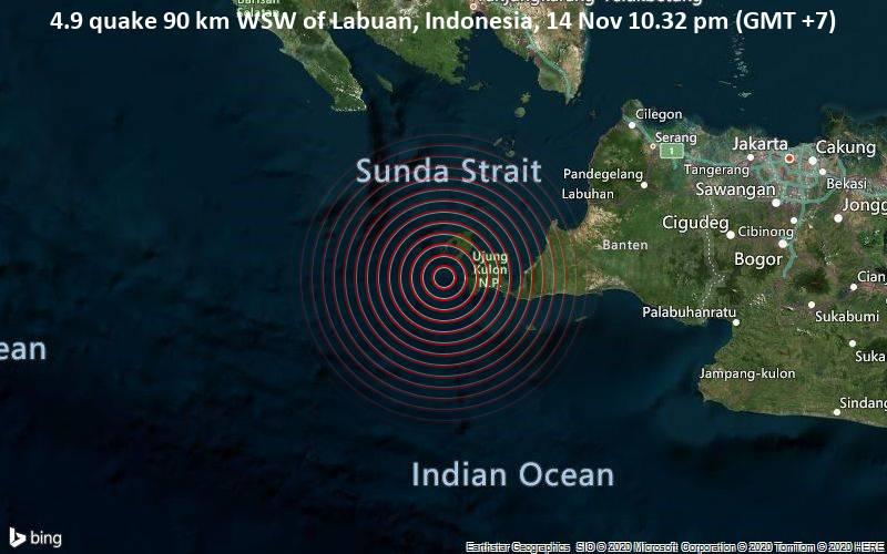 4.9 quake 90 km WSW of Labuan, Indonesia, 14 Nov 10.32 pm (GMT +7)