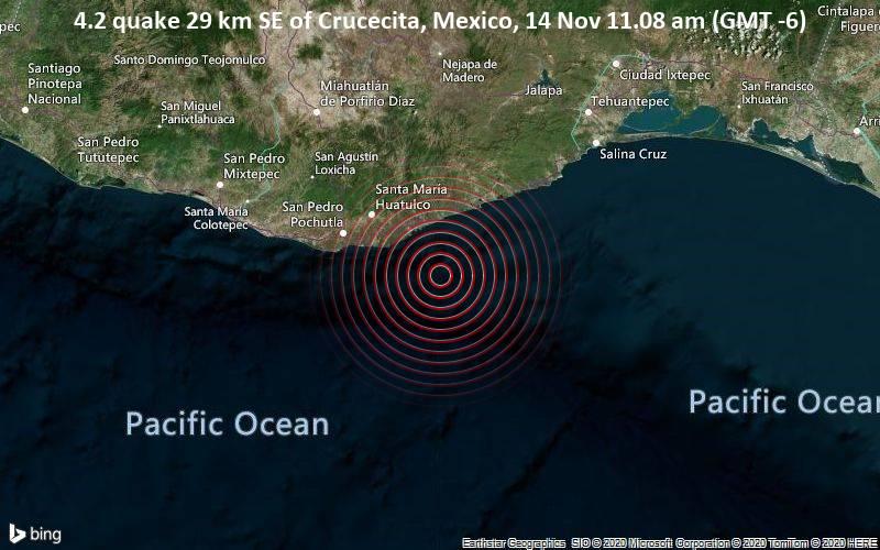 4.2 quake 29 km SE of Crucecita, Mexico, 14 Nov 11.08 am (GMT -6)