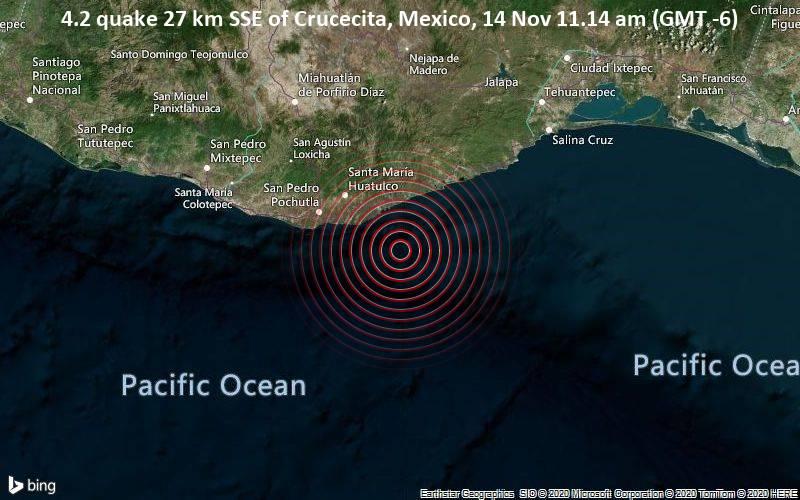 4.2 quake 27 km SSE of Crucecita, Mexico, 14 Nov 11.14 am (GMT -6)