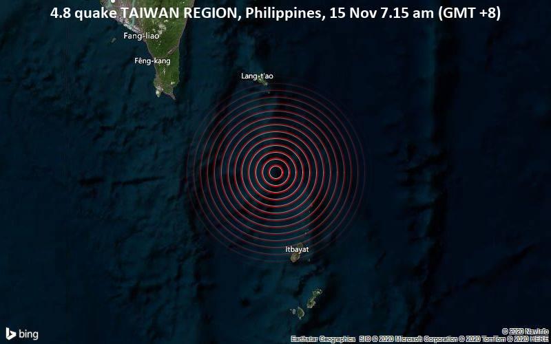 4.8 quake TAIWAN REGION, Philippines, 15 Nov 7.15 am (GMT +8)