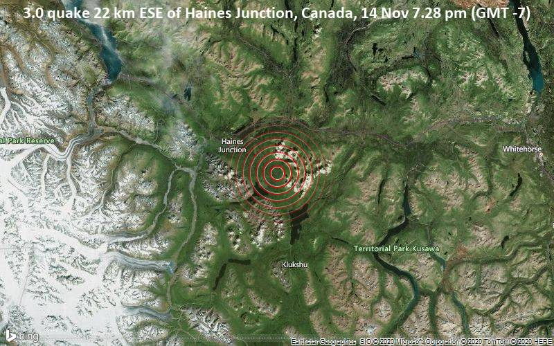 3.0 quake 22 km ESE of Haines Junction, Canada, 14 Nov 7.28 pm (GMT -7)