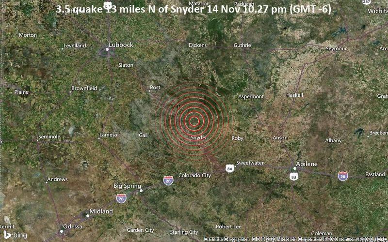 3.5 quake 13 miles N of Snyder 14 Nov 10.27 pm (GMT -6)