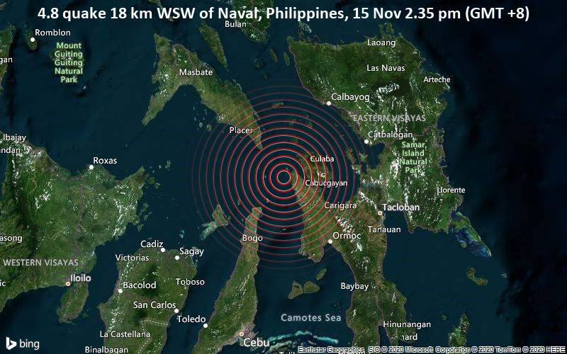 4.8 quake 18 km WSW of Naval, Philippines, 15 Nov 2.35 pm (GMT +8)