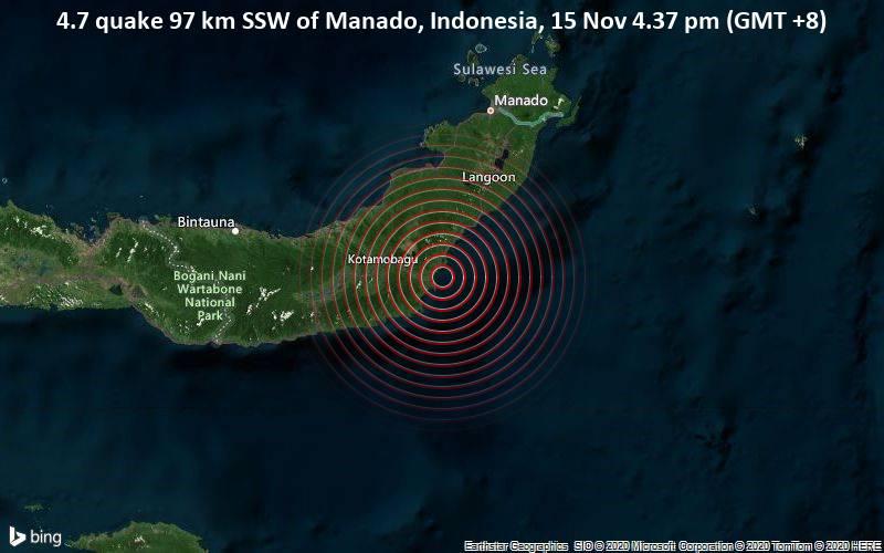4.7 quake 97 km SSW of Manado, Indonesia, 15 Nov 4.37 pm (GMT +8)