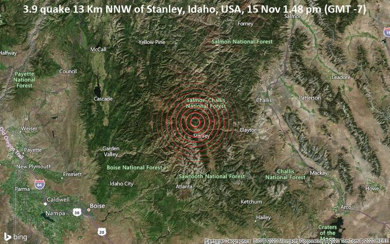 3.9 quake 13 Km NNW of Stanley, Idaho, USA, 15 Nov 1.48 pm (GMT -7)