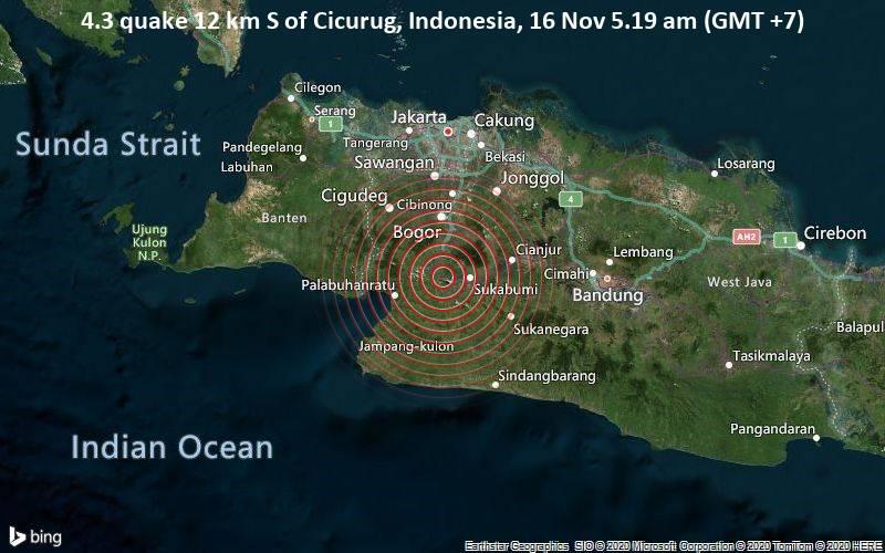 4.3 quake 12 km S of Cicurug, Indonesia, 16 Nov 5.19 am (GMT +7)