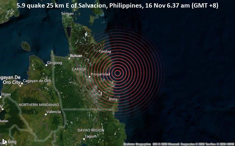 5.9 quake 25 km E of Salvacion, Philippines, 16 Nov 6.37 am (GMT +8)