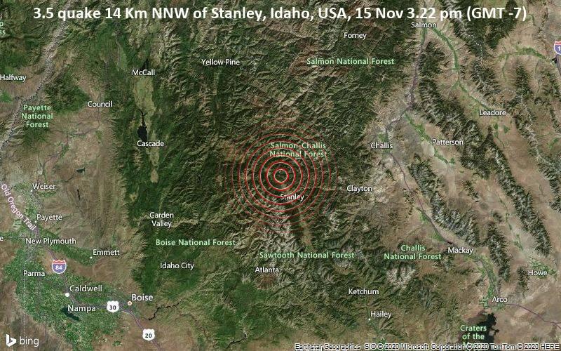 3.5 quake 14 Km NNW of Stanley, Idaho, USA, 15 Nov 3.22 pm (GMT -7)