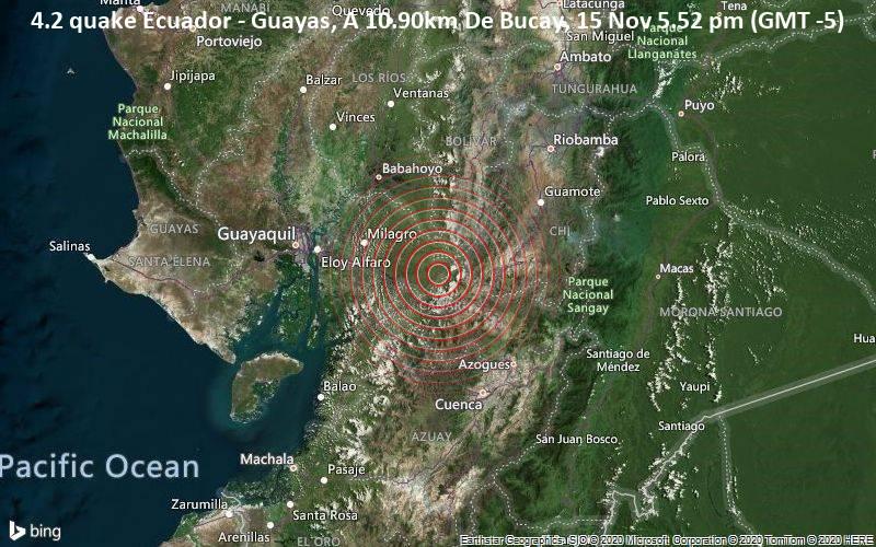 4.2 quake Ecuador - Guayas, A 10.90km De Bucay, 15 Nov 5.52 pm (GMT -5)