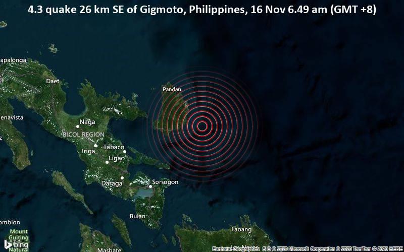 4.3 quake 26 km SE of Gigmoto, Philippines, 16 Nov 6.49 am (GMT +8)
