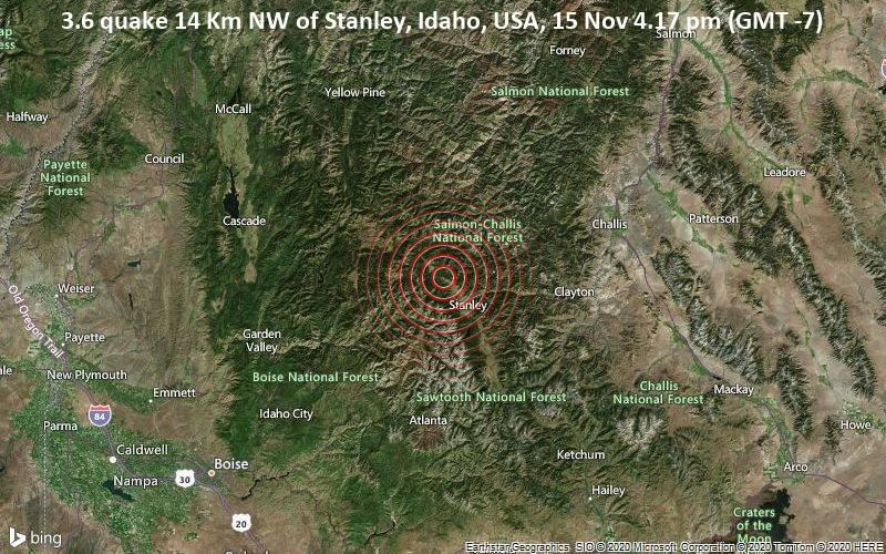 3.6 quake 14 Km NW of Stanley, Idaho, USA, 15 Nov 4.17 pm (GMT -7)