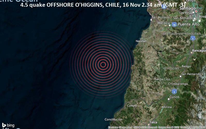 4.5 quake OFFSHORE O'HIGGINS, CHILE, 16 Nov 2.34 am (GMT -3)