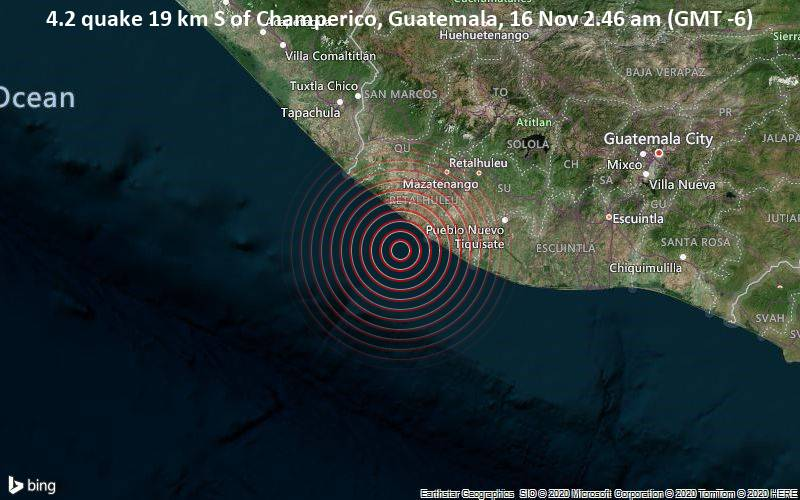 4.2 quake 19 km S of Champerico, Guatemala, 16 Nov 2.46 am (GMT -6)