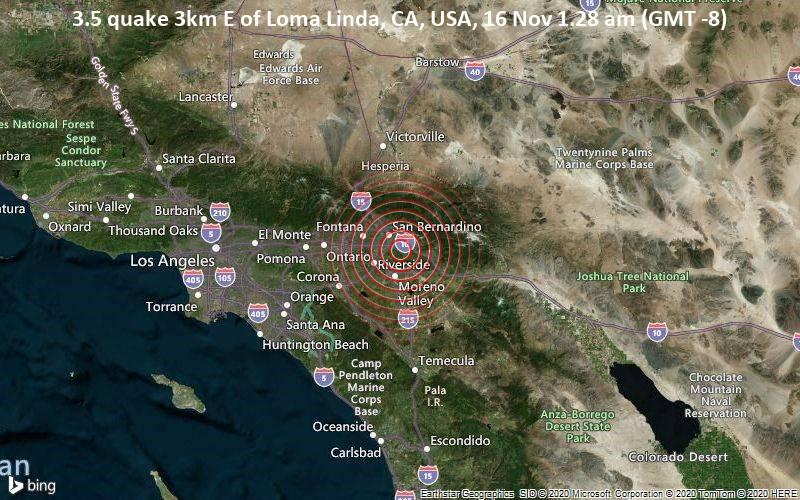 3.5 quake 3km E of Loma Linda, CA, USA, 16 Nov 1.28 am (GMT -8)