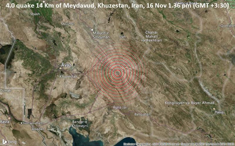 4.0 quake 14 Km of Meydavud, Khuzestan, Iran, 16 Nov 1.36 pm (GMT +3:30)