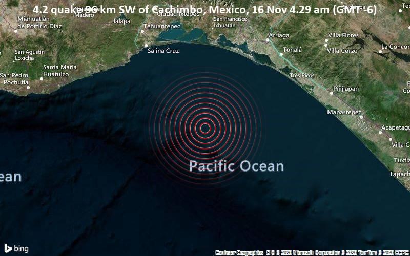 4.2 quake 96 km SW of Cachimbo, Mexico, 16 Nov 4.29 am (GMT -6)