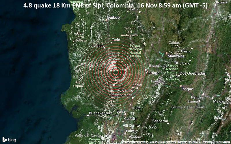 4.8 quake 18 Km ENE of Sipí, Colombia, 16 Nov 8.59 am (GMT -5)