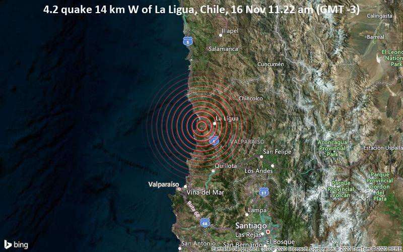 4.2 quake 14 km W of La Ligua, Chile, 16 Nov 11.22 am (GMT -3)