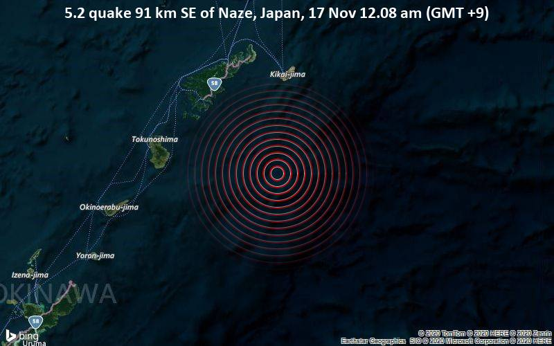 5.2 quake 91 km SE of Naze, Japan, 17 Nov 12.08 am (GMT +9)