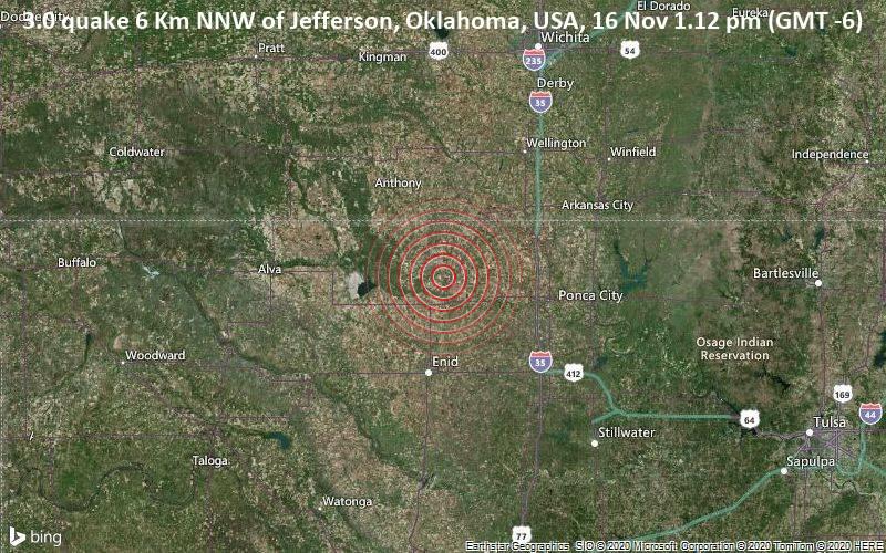 3.0 quake 6 Km NNW of Jefferson, Oklahoma, USA, 16 Nov 1.12 pm (GMT -6)