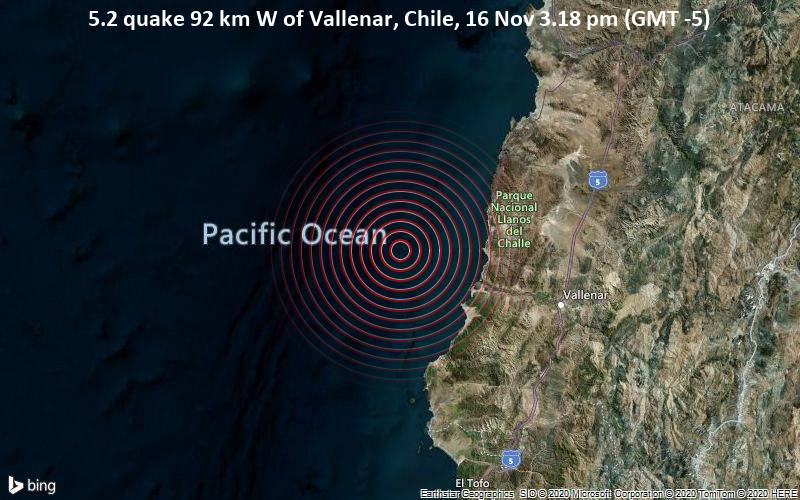 5.2 quake 92 km W of Vallenar, Chile, 16 Nov 3.18 pm (GMT -5)