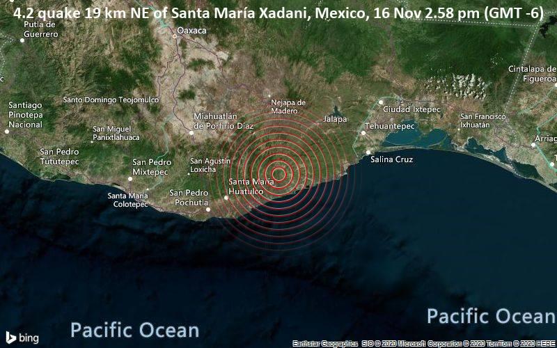 4.2 quake 19 km NE of Santa María Xadani, Mexico, 16 Nov 2.58 pm (GMT -6)