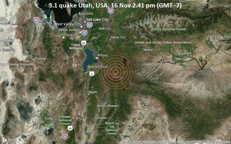 3.1 quake Utah, USA, 16 Nov 2.41 pm (GMT -7)