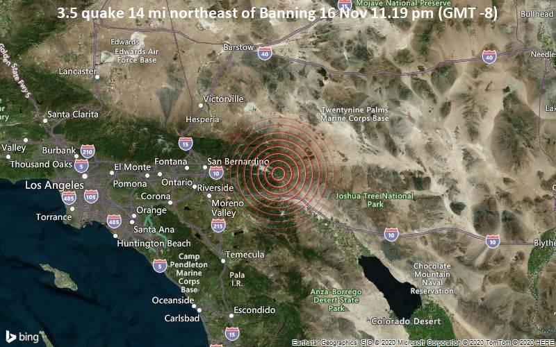 3.5 quake 14 mi northeast of Banning 16 Nov 11.19 pm (GMT -8)