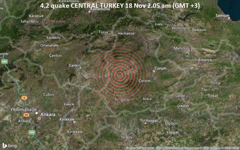 4.2 quake CENTRAL TURKEY 18 Nov 2.05 am (GMT +3)