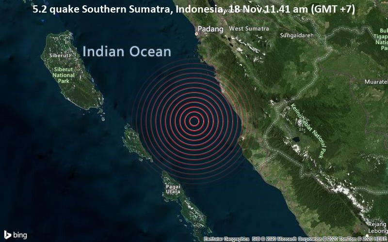 5.2 quake Southern Sumatra, Indonesia, 18 Nov 11.41 am (GMT +7)