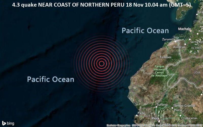 4.3 quake NEAR COAST OF NORTHERN PERU 18 Nov 10.04 am (GMT -5)