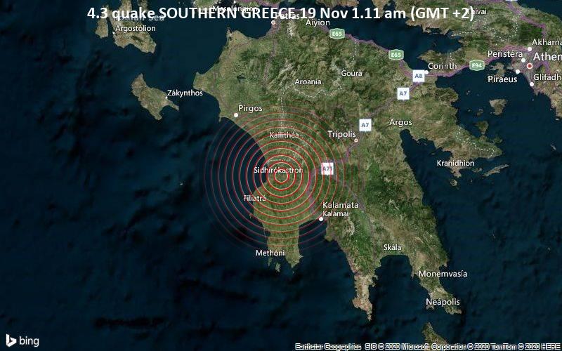 4.3 quake SOUTHERN GREECE 19 Nov 1.11 am (GMT +2)
