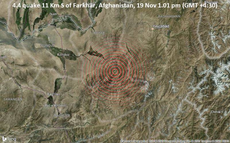 4.4 quake 11 Km S of Farkhār, Afghanistan, 19 Nov 1.01 pm (GMT +4:30)