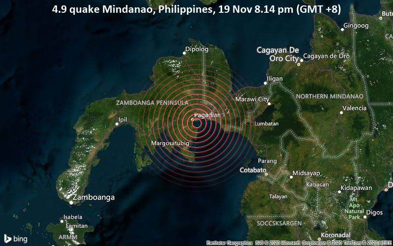 4.9 quake Mindanao, Philippines, 19 Nov 8.14 pm (GMT +8)