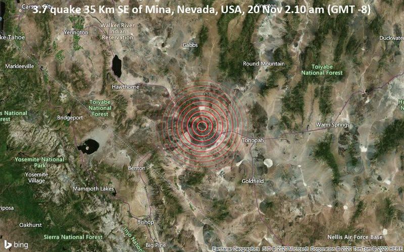 3.7 quake 35 Km SE of Mina, Nevada, USA, 20 Nov 2.10 am (GMT -8)
