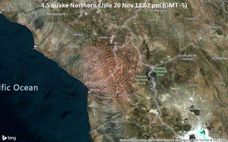 4.5 quake Northern Chile 20 Nov 12.02 pm (GMT -5)