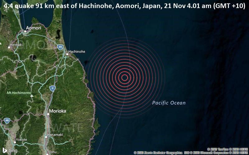 4.4 quake 91 km east of Hachinohe, Aomori, Japan, 21 Nov 4.01 am (GMT +10)