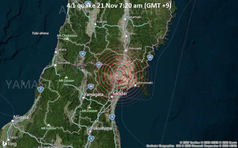 4.1 quake 21 Nov 7:20 am (GMT +9)