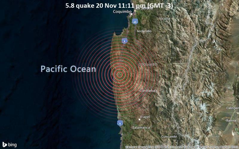 Moderates Erdbeben der Stärke 5.8 - 48 km südwestlich von Ovalle, Limarí, Coquimbo, Chile am Samstag, 21. Nov. 2020