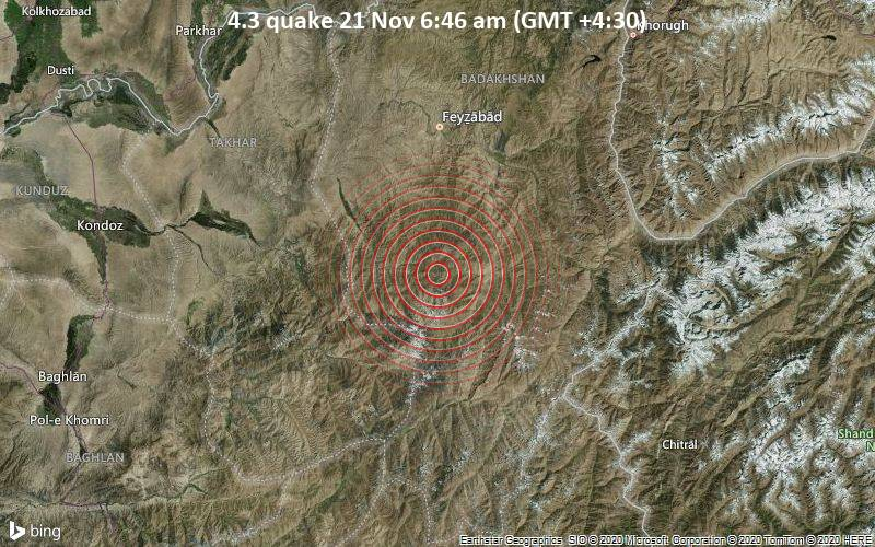 4.3 quake 21 Nov 6:46 am (GMT +4:30)