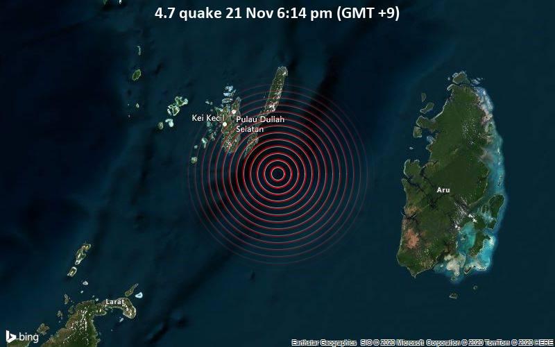 4.7 quake 21 Nov 6:14 pm (GMT +9)