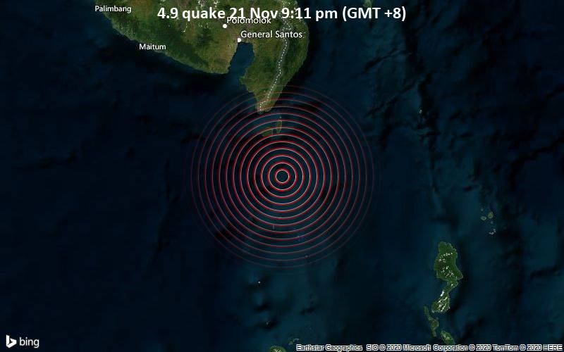 4.9 quake 21 Nov 9:11 pm (GMT +8)
