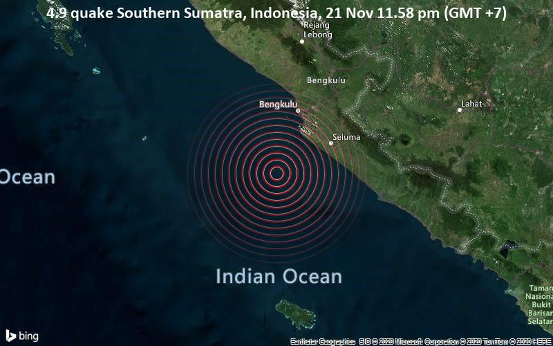 4.9 quake Southern Sumatra, Indonesia, 21 Nov 11.58 pm (GMT +7)