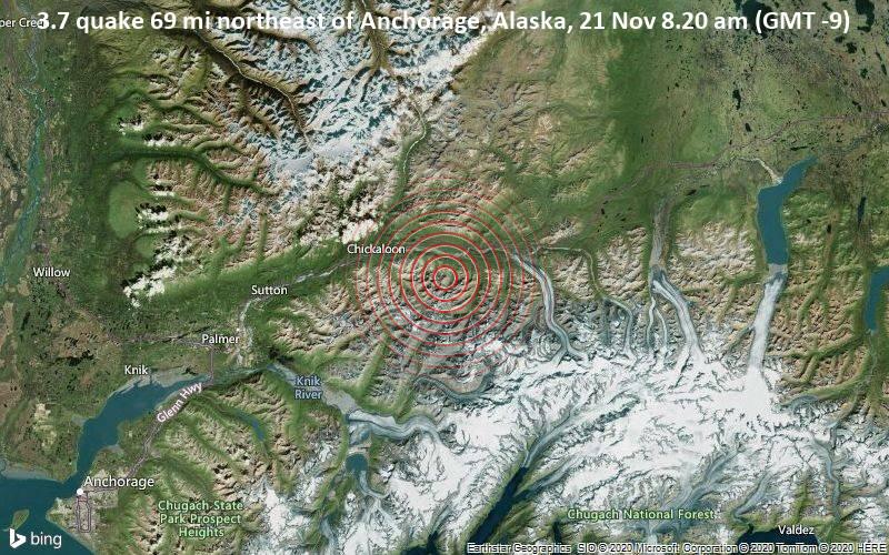 3.7 quake 69 mi northeast of Anchorage, Alaska, 21 Nov 8.20 am (GMT -9)