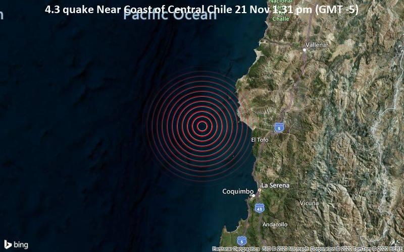 Leichtes Erdbeben der Stärke 4.3 - Near Coast of Central Chile am Samstag, 21. Nov. 2020