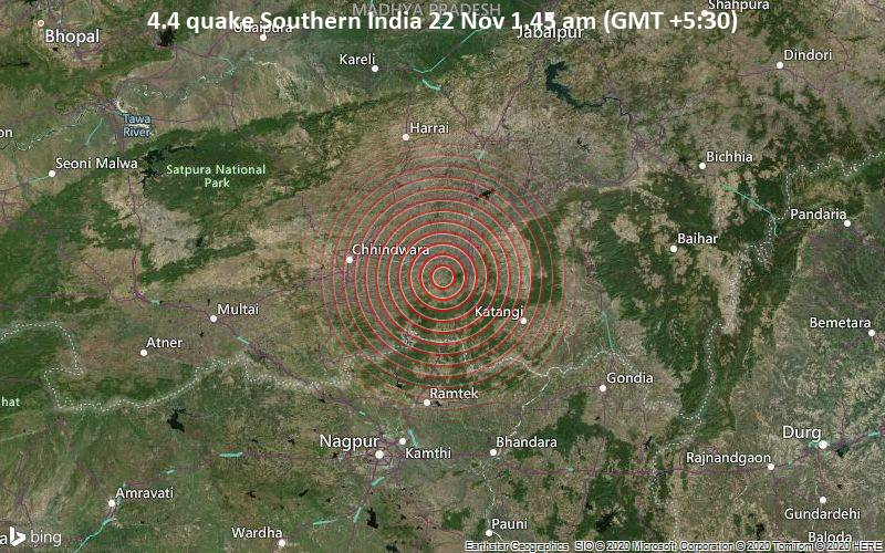 4.4 quake Southern India 22 Nov 1.45 am (GMT +5:30)
